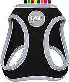 DDOXX Brustgeschirr Air Mesh, Step-In, reflektierend | viele Farben | für kleine, mittlere & mittelgroße Hunde | Hunde-Geschirr Hund Katze Welpe | Katzen-Geschirr Welpen-Geschirr | Schwarz, M*