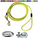 bio-leine Schleppleine aus runder Biothane - 5 Meter Länge, Ø 6,4 mm, für kleine und große Hunde, schmutz- und Wasserabweisende Hundeleine Schleppleinen, Neon-Gelb